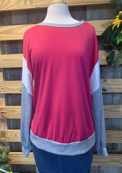 TOPS S / PINK Color Block Top