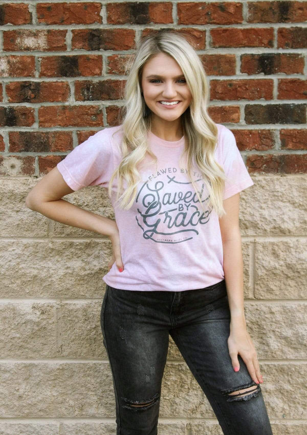 TOPS S / PINK Saved By Grace Tee