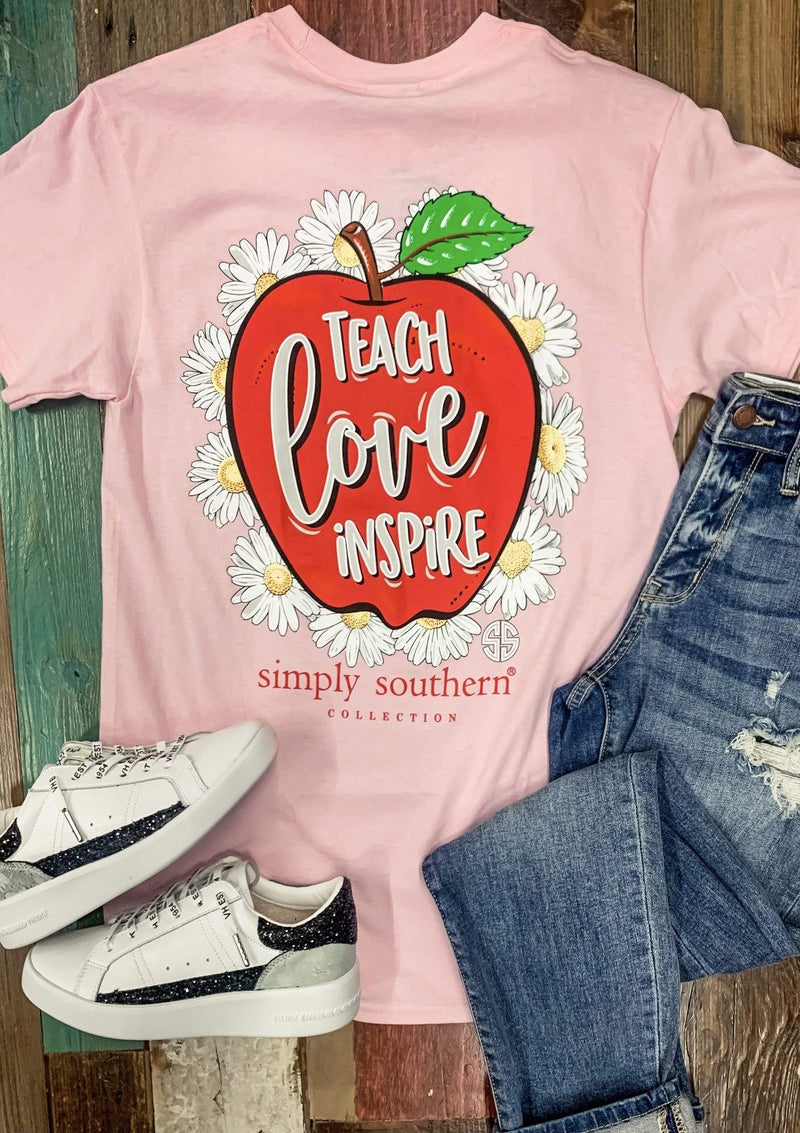 TOPS S / PINK Teach Love Inspire Simply Southern Tee