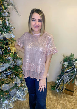 TOPS S / ROSE Holiday Magic Top In Rose