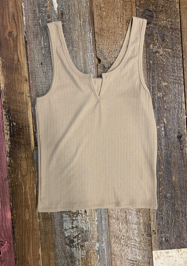 Count On Me Tank Top in TAUPE
