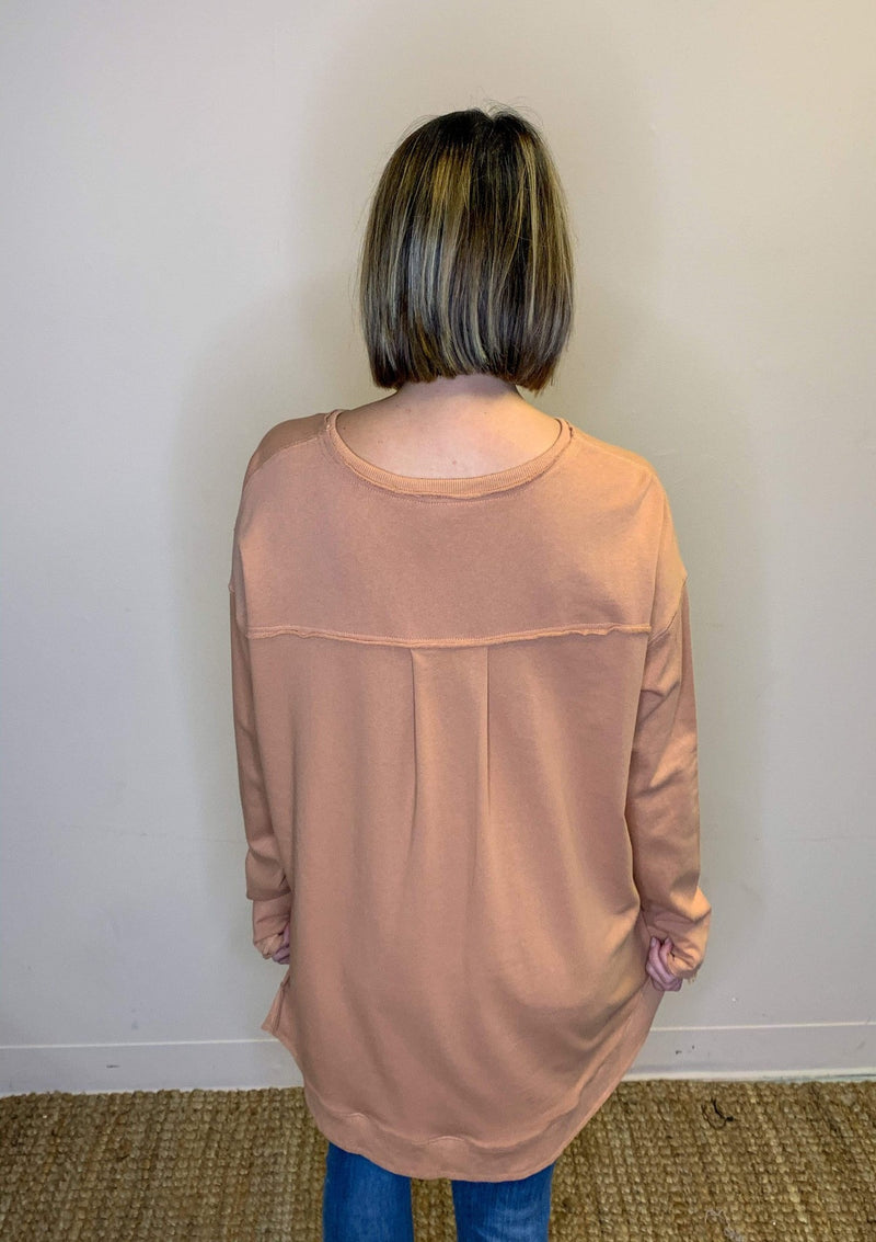 TOPS Simply Sweet Pullover In Fadedrust