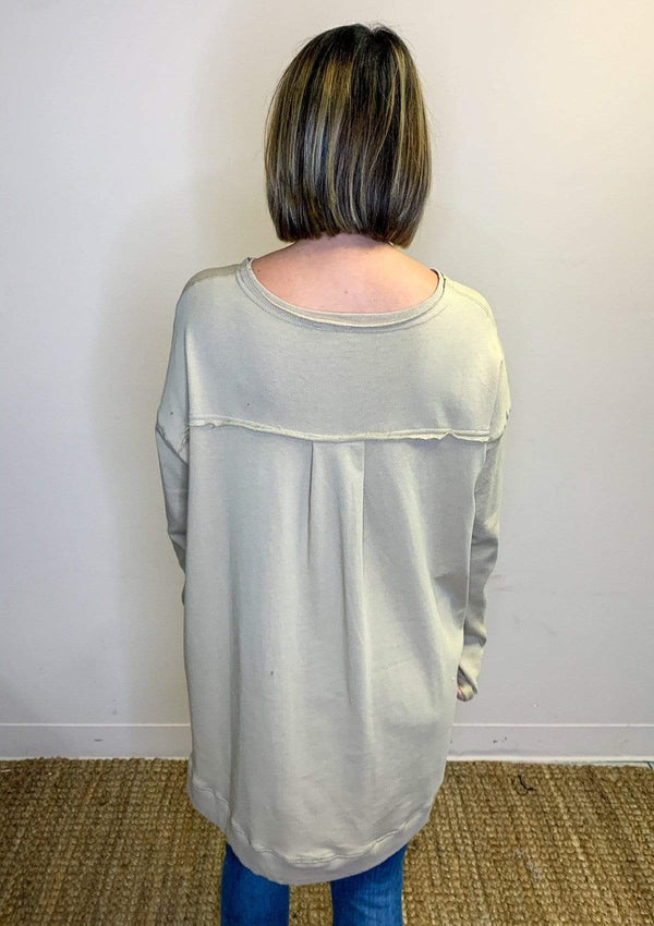 TOPS Simply Sweet Pullover In Khaki