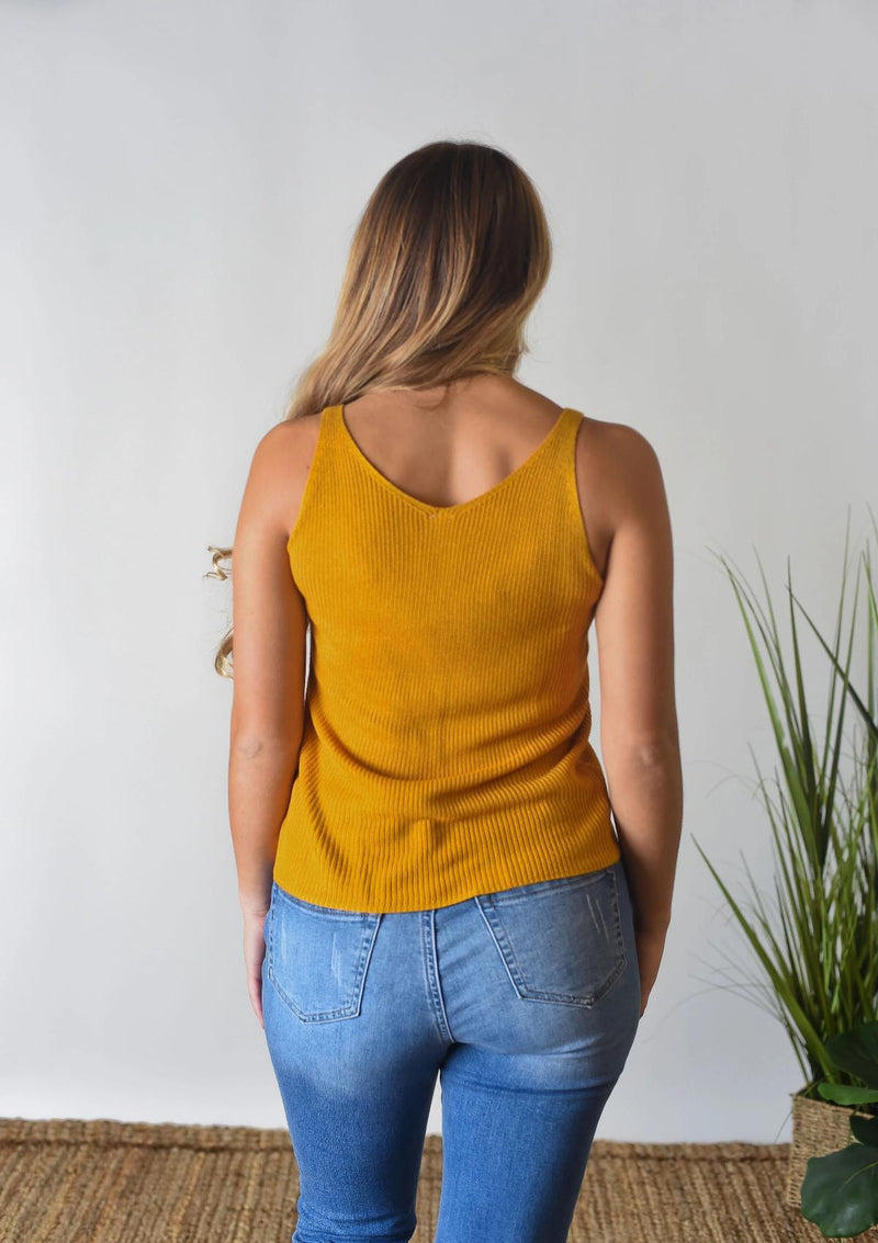 TOPS The Willow Sweater Tank in Mustard