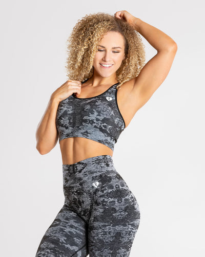 Camo Seamless Sports Bra | Black