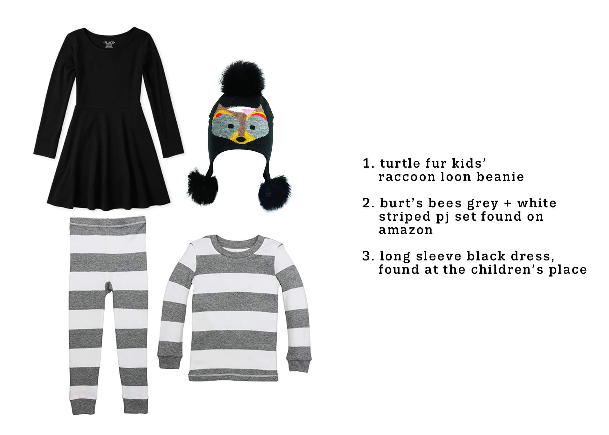 DIY kids last minute halloween costume - raccoon