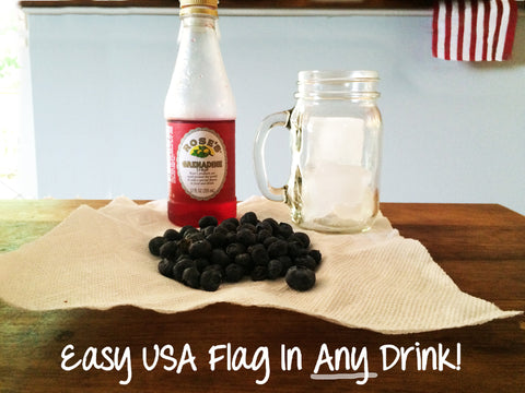Fun patriotic drinks with grenadine and blueberries by Turtle Fur!