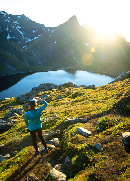 Scenic view while trail running in Lofoten, Norway