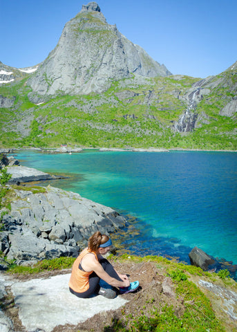 Trail running scenic views, Lofoten, Norway