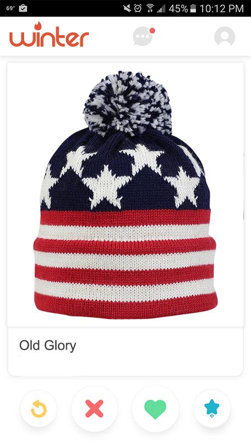 Retro classic vintage hand knit wool american flag usa made hat pom