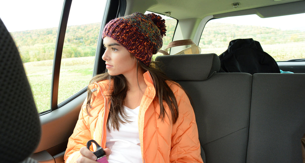 Hipster chic in the Firefly pom beanie hand knit from turtle fur