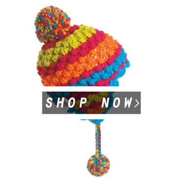 A Bright Colorful Knit Pom Earflap Hat for Kids is Parfait!