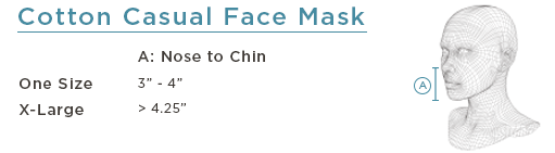 Cotton Casual Face Mask Size Chart