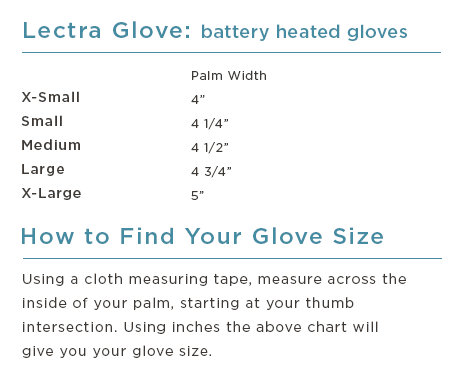 Lectra Battery Heated Glove Size Chart - Turtle Fur & Nordic Gear