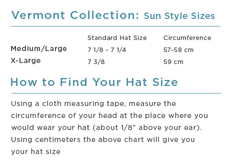 Vermont Collection Sun Style Straw Hats Size Chart - Turtle Fur