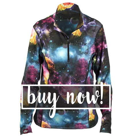 Womens Space Print Athletic Top Pullover