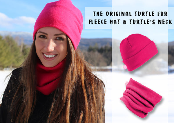 Original Turtle Fur Fleece Pair Set Neck Warmer and BEanie