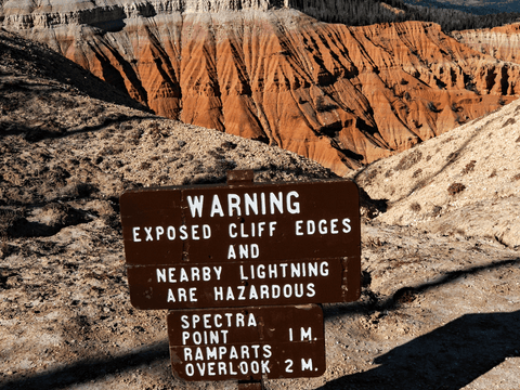Cliff and Lightening Warning Sign