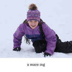 a maze ing pom beanie, youth beanie holiday gift ideas for kids