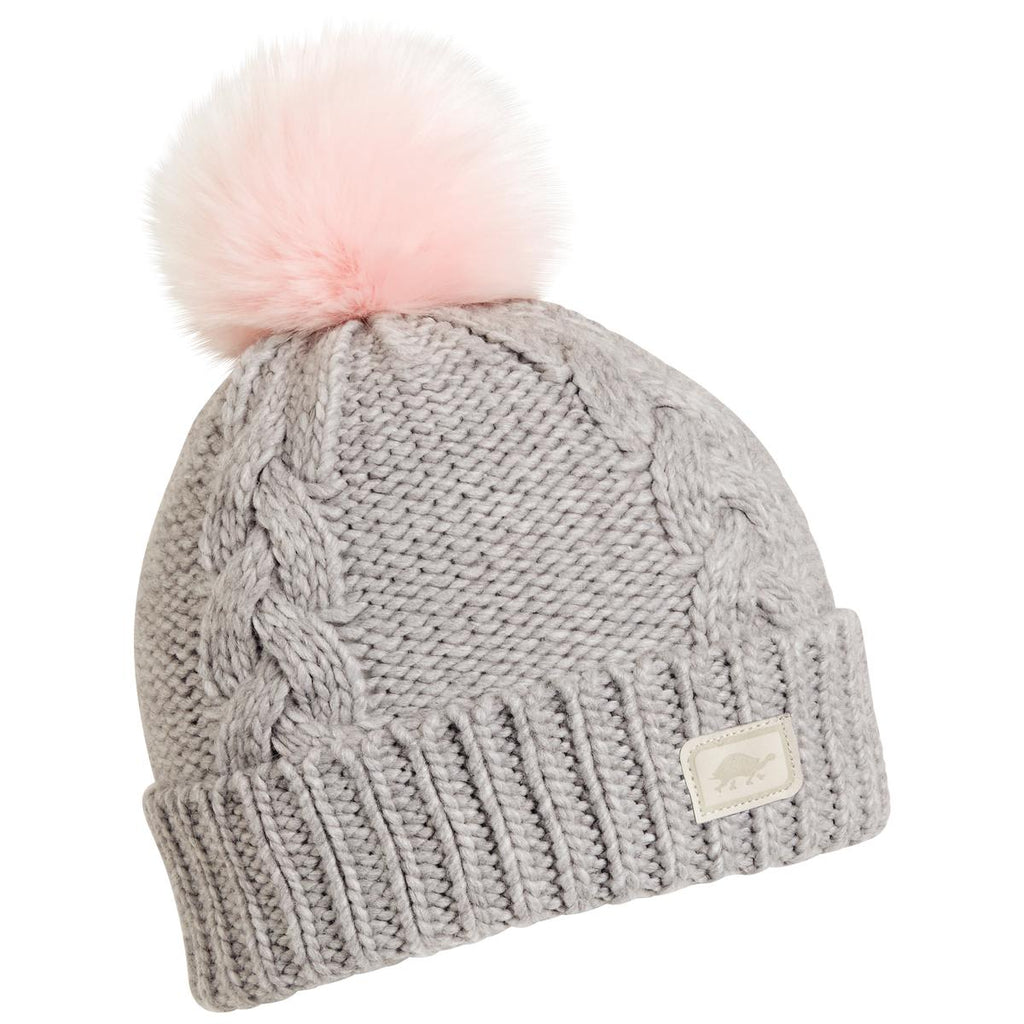 Lizzy Faux Fur Pom Beanie / Color-Smoke
