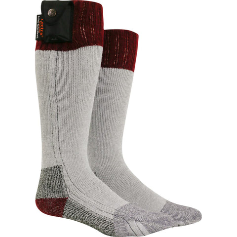 Lectra Sox Battery Heated Hiker Socks / Color-Maroon