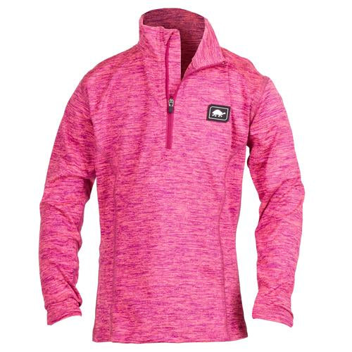 Girls Comfort Shell Stria Kira High Energy 1/4 Zip / Color-Pink Mystic