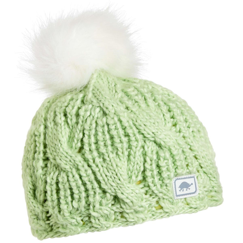 Youth Merino Wool Amelia Faux Fur Pom / Color-Lime