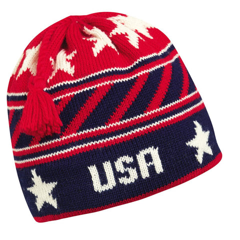 USA Stripes Wool Tassel Beanie / Color-Navy