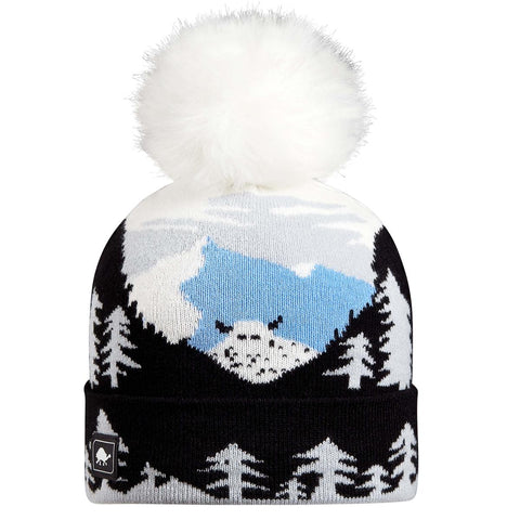 Youth Peeking Yeti Faux Fur Pom / Color-Black