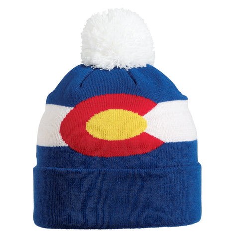 Kids Great State Pom Beanies / Color-Colorado Flag