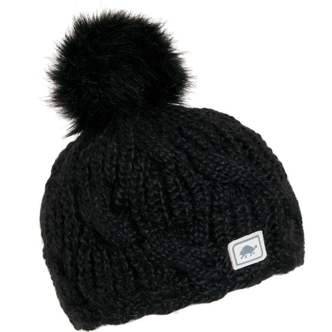 Youth Merino Wool Amelia Faux Fur Pom / Color-Black