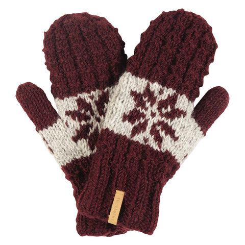 Nepal Mani Wool Mittens / Color-Maroon