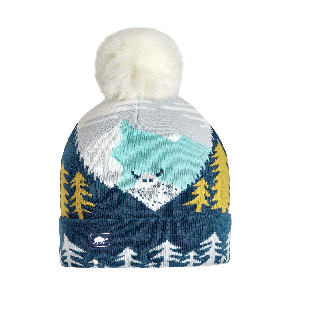 Youth Peeking Yeti Faux Fur Pom / Color-Navy