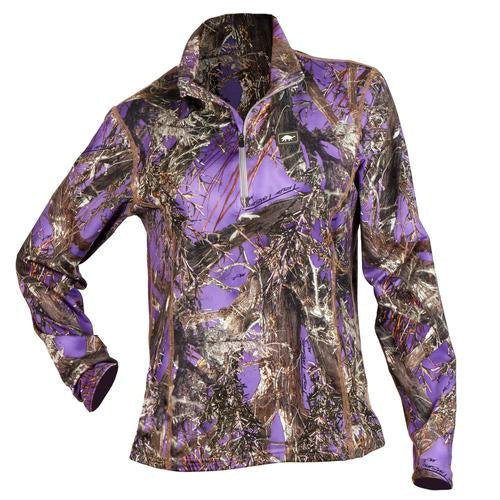 Women's Comfort Shell Kira High Energy 1/4 Zip / Color-True Timber Mc2 Purple