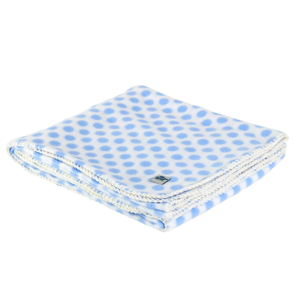 Classic Fleece Camping Blanket / Color-Polka Blue