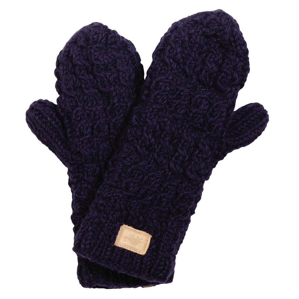 Mika Hand Knit Mittens / Color - Midnight