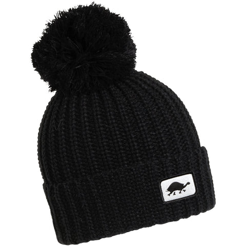 Prime Hand Knit Pom Beanie / Color-Black