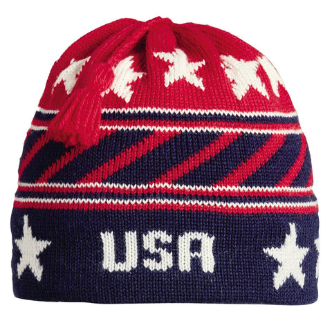USA Stripes Tassel Beanie / Color-Navy