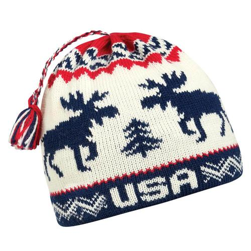 Moose USA Made Tassel Beanie / Color-Ear band lined with Sherpasoft Plush Fleece