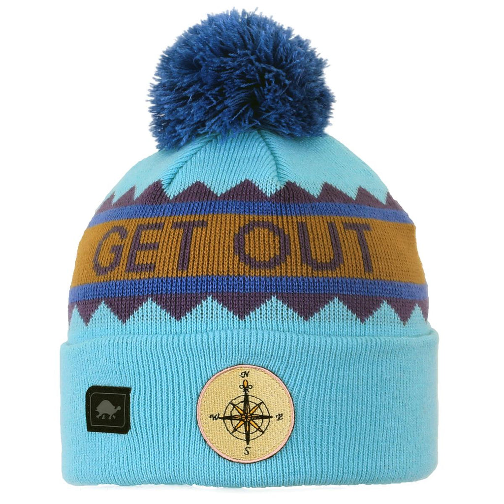 Get Out Pom Beanie / Color-Turquoise