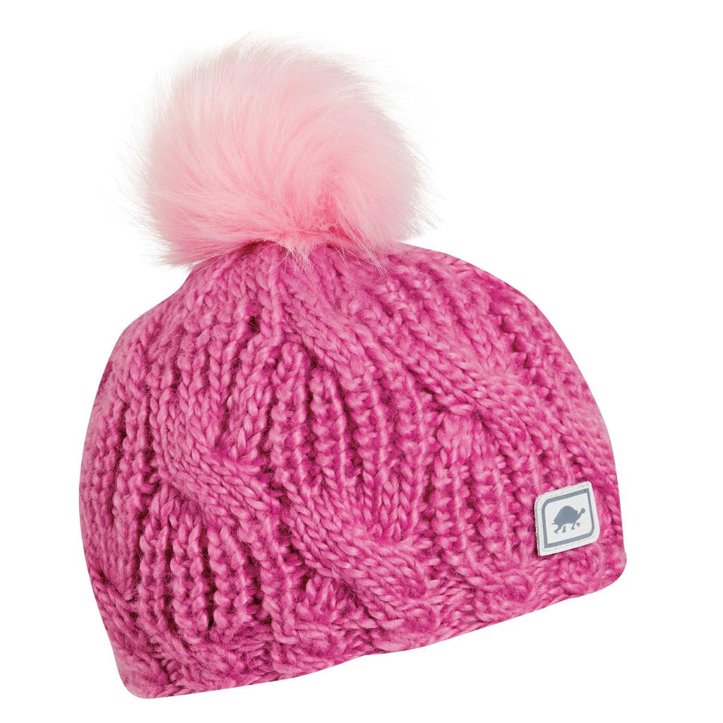 Youth Merino Wool Amelia Faux Fur Pom / Color-Hottie Pink