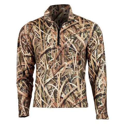 Men's Comfort Shell Lite Camo Active Performance Tops / Color-1/4 Zip - Mossy Oak Shadow Grass Blades