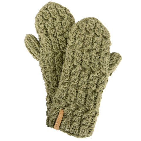 Mika Hand Knit Mittens / Color-Sage