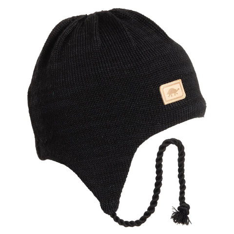 Solid Earflap Hat / Color - Black