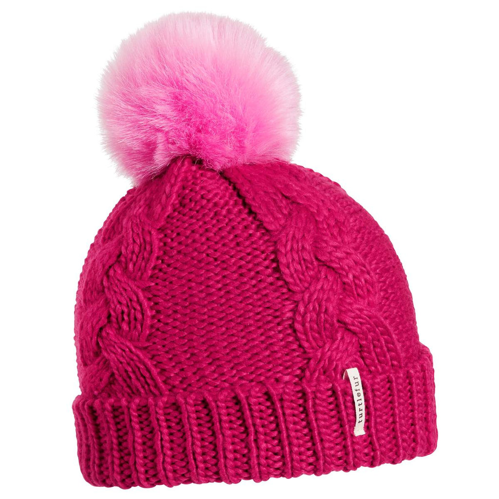 Youth Lizzy Faux Fur Pom / Color-Positively Pink