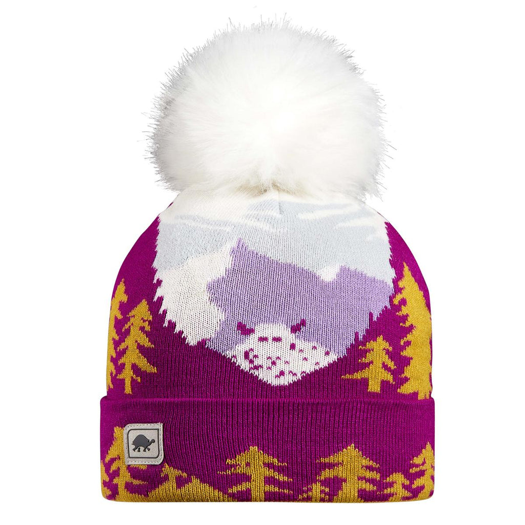 Youth Peeking Yeti Faux Fur Pom / Color-Fuchsia