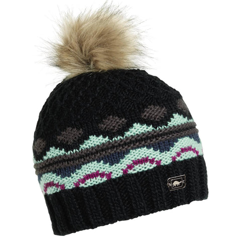 Mary-Beth Pom Beanie / Color-Black