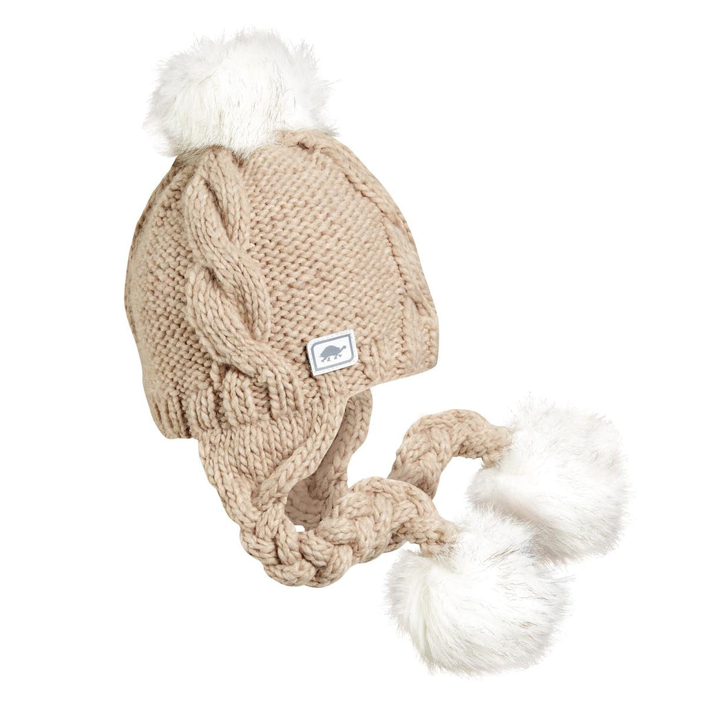 Lauren Earflap Faux Fur Pom / Color-Latte