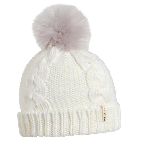 Youth Lizzy Faux Fur Pom / Color-Ivory