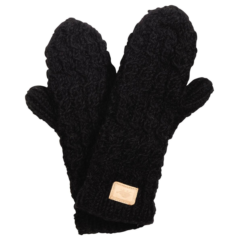 Mika Hand Knit Mittens / Color - Black